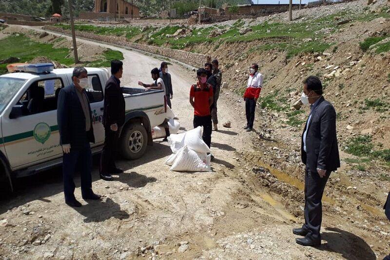 خبرنگاران بسته های مواد بهداشتی و غذایی در روستای سرتنگ بیدک توزیع شد